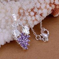 P206 fashion jewelry chains necklace 925 silver pendant Muscatel grapes zircon pendant