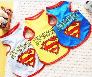 Pet summer dog clothes super man mesh vest dog vest teddy bear bo clothes(China (Mainland))