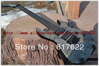 Free shipping Wholesale - Hot selling 7 strings Puerto Rico Flame black ebony fretboard OEM electric guitar in stock