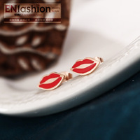 18KGP fashion red lips earring stud fashion women earring 316L stainess steel jewelry wholesale free shipping