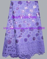 Free shipping african lace fabric organza lace with many sequins wholesale and retail  BCL00882 lilac