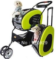 DS048 Five colors multifuctional pet wheelbarrow puplike cat dog stroller cages cart car carrier truck bag