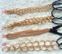 free shipping/12pcs hot women's gold color Headband,good quality fashion metal hair band chian 4 models