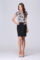 [ANYTIME] Fashion women's 2013 ol patchwork print pocket decoration slim plus size one-piece dress