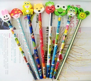 With rubber cartoon pencil shape eraser child stationery small gift (free shipping)(China (Mainland))