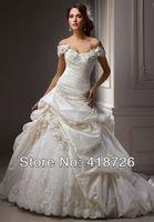 New Elegant White/Ivory Sweetheart satin Bridal Dress Wedding Dress Gown Custom Size Free Shipping