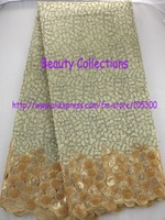 Free shipping african lace fabric organza lace with velvet with sequins  high quality wholesale and retail  BCL00993 gold