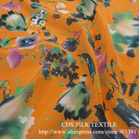 Dressmaking 100% SIlk Crepe de Chine Printed Fabric Textile for Dress Material C2817
