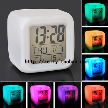 Colorful alarm clock seven color allochroism alarm clock kt colorful bell battery