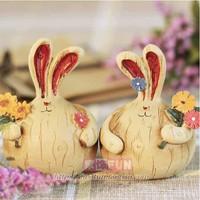 free shipping Furnishings fun resin rabbit home decoration wedding gift a pair  of 10.3 dollars