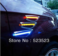 2pcs Universal BLUE  Car Auto Side Marker Turn Signal 8 LEDs Flash Light Lamp