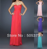 Alluring custom made a-line sexy backless 2013 chiffon empire ruffle floor length heart classic prom dress party desses