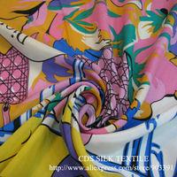 100% Real Natural Silk Crepe Fabric Printed for Clothing Material C2891