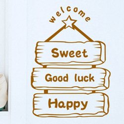 Lucky wooden plaque wall stickers door stickers wall decoration glass door stickers wall sticker(China (Mainland))