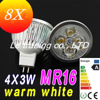 8x Hot Selling Dimmable High power MR16 4X3W 12W LED Lamp Spotlight downlight lamp 12V Free shipping