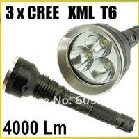 SKY-RAY 3T6 818 Flashlight 5 Mode 4000 Lumens 3X CREE XM-L T6 LED Flashlight 18650 Battery High Power Flashlight Torch