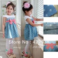 2013 Ready stock !Fashion Polka Dot dress 5pcs/1lot girls clothing beautiful Princess dress kids bowknot dress Children clothes