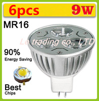 6pcs/lot Hot Selling Dimmable High power MR16 3X3W 9W LED Lamp Spotlight downlight lamp 12V Free shipping