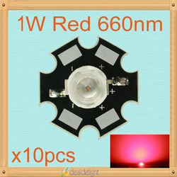 Freeshipping! Hot sale10PCS 1W Deep Red High Power 660NM Plant Grow LED Emitter Light for Cabinet/Tank/Aquarium(China (Mainland))