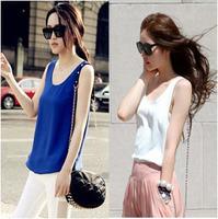 Free shipping 2013 fashion chiffon small vest all-match female loose sleeveless plus size spaghetti strap basic top female