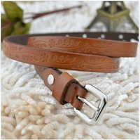 Fashion Genuine Cowhide Leather Embossed Thin Belt Strap Fashion Belly Chain Decoration Buckle Belts Vintage Cowboy Brown Black