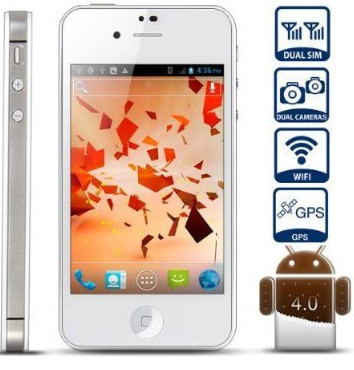 Unlocked Quadband Dual Sim with Android 4.0 3g Smart Phone 3.5 Inch Capacitive Touch Screen - At&t,Other GSM Networks (White)(China (Mainland))