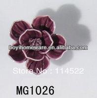 new design hand made fuschia rose flower ceramic knobs handles cabinet pull kitchen cupboard knob kids drawer knobs MG1026