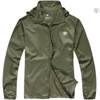 Outdoor Ultra Light Thin Anti UV Wind Coats Windbreaker Wear-resistant Hiking Camping clothes Army green