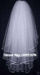 3 Layers White Wedding Bridal Dress Tiara Beads Veil Scarf/Shawl With Comb(China (Mainland))