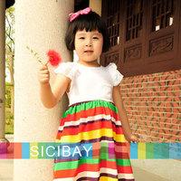 Free Shipping Girl Summer Leisure Fashion Dress Rainbow Striped Dress Lace Sleeve&Pocket Design  K0135