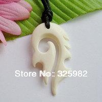 New Zealand Maori Handmade Carved Ox Bone TOTEM Pendant Necklace Hawaiian Necklace (NZ329)
