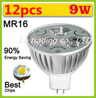 12pcs/lot Hot Selling Dimmable High power MR16 3X3W 9W LED Lamp Spotlight downlight lamp 12V Free shipping