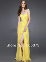 Glamourous a-line sexy beaded crystal yellow floor length cheap sweetheart ruffle vented classic prom dresses party Dress