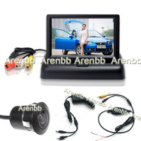 Foldable wireless camera parking system 4.3 LCD car monitor +Embeded car rear view hd camera+cigarate lighter adapter AR-764