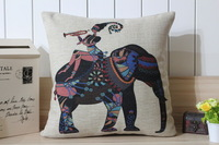 Free Shipping Decorative Pillow Case, Cushion Covers Pillow Covers - Exotic elephants and Girl