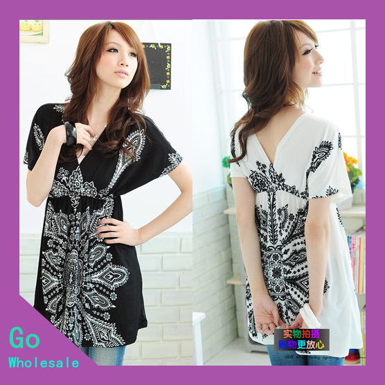 1 Piece Free Shipping 2013 Spring and Summer Women Empire Slim V-Neck Vintage Print Short Dress GM200019