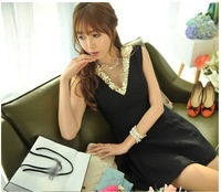 office lady's OL sequin V-neck cotton figuring short dress sleeveless Vest dress skirt m06g3795