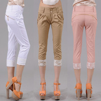 Free shipping 2013 female slim casual lace up roll hem pants female trousers 8c68