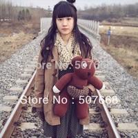 Wholesale 100pcs/Lot 35cm Mr Bean Teddy Bear Animal Stuffed Plush Toys Brown Figure Doll Child Xmas Gifts EMS Free Shipping
