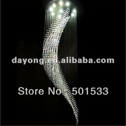Modern Wave Crystal Pendant Lamp Rain Drop Chandelier DM5013 160cm high and 60cm wide with 8 lights(China (Mainland))