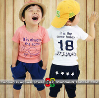 2013 New Arrival Free Shipping Boys Or Girls Clothing Sets, Short Sleeve Elephant T-shirt + Harem Pant