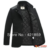 2013 new Fashion Brand discount Mens black wool pea Trench coat winter long jacket Men top quality Free shipping