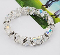 Free shipping Crystal bracelet fashion luxury full rhinestone double layer handmade beaded crystal bracelet female