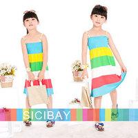 4pcs/lot Girl Dress Wholesale Kids Bohemian Style Striped Suspender Dresses Girls Summer Beach Clothes,Free Shipping K0386