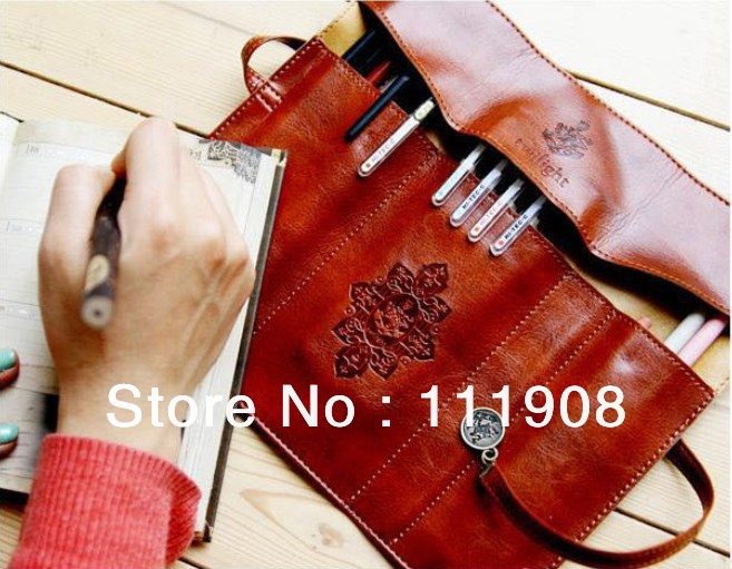 Free shipping twilight concise Synthetic leather pen bag as retro cosmetic bag protable stationery pouch for lady and student.(China (Mainland))