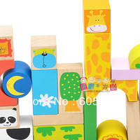 Free shipping  32pcs/set cartoon graphic patterns blocks water-based paint solid wood blocks