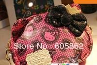 New kawaii pink color hello kitty shape quality cosmetic bag / make up bag  A0327