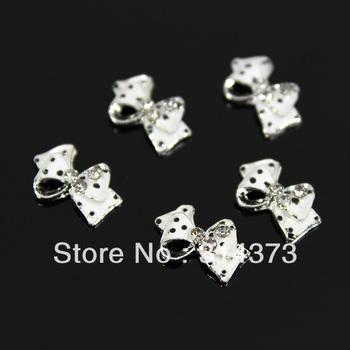 100pcs/ Lot 9X12MM Black Dot White Bow Tie Clear Rhinestones 3D Alloy Metal DIY Design Decoration Nail Art Tips Craft Accesorry