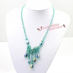 Free shipping Long beaded necklace design birthday drop crystal necklace(China (Mainland))