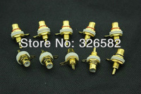 Free Shipping  100pcs golden plated RCA female jack, amplifier speaker audio connector terminal